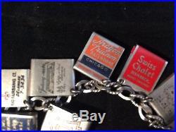 Vintage sterling silver chicago land tiny matchbook 17 charm bracelet