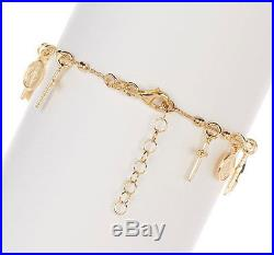 Virgin Mary Cross Charm Rosary Bracelet 18K Yellow Gold Vermeil Sterling Silver