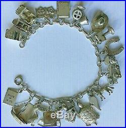 Vtg 1940's LOADED CHARMS BRACELET Sterling Silver Some Mechanical Some Rare