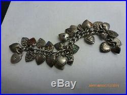 Vtg 1940's Sterling Silver 27 Puffy Heart Charm Bracelet Guilloche Some Enamel