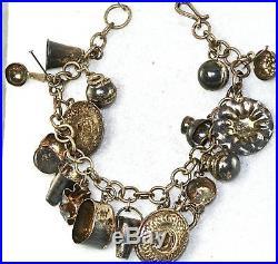 Vtg Mexican Sterling Silver Charm Bracelet
