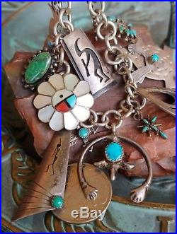 Vtg Native American Turquoise Sterling Silver Charm Bracelet