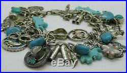 Vtg Western 925 STERLING Silver 20+CHARMS Cowboy Horses Turquoise ITALY Bracelet