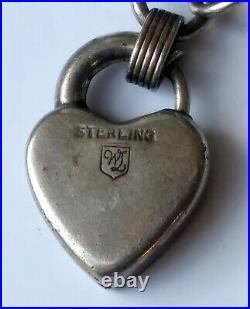 WOW Antique Pre-WWII Sterling Silver Puffy Heart 23 Charm Bracelet Enamel Navy