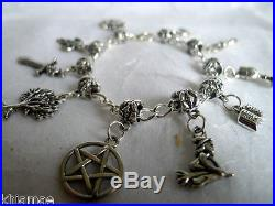 Wiccan 10 Charm Bracelet pentacle witch wicca pagan jewelry jewellery silver