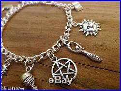 Wiccan 11 Charm Bracelet pentacle goddess green man bos pagan jewellery silver