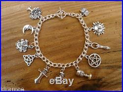 Wiccan Chunky Charm Bracelet pentacle goddess green man pagan jewellery silver