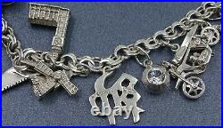 Women Sterling Silver Charm bracelet with 16 Charms Traditional Vintage Style