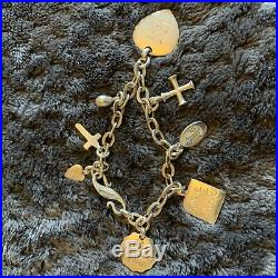 Wright And Teague Silver Charm Bracelet Hallmarked W&t 8 Charms Love Divine